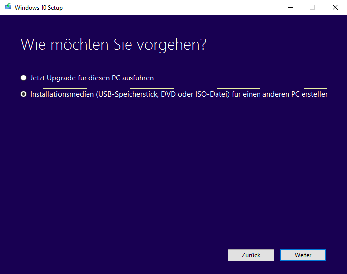Windows 10 vom USB-Stick installieren 01 - Installationsmedien oder Upgrade