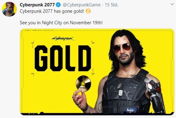 Cyberpunk 2077 Gold Tweet